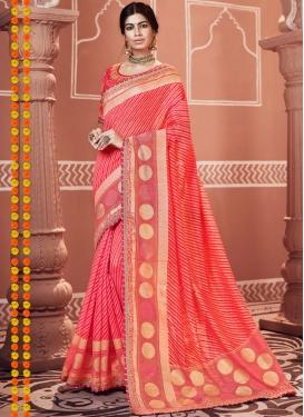 Rose Pink Embroidered Ceremonial Classic Designer Saree