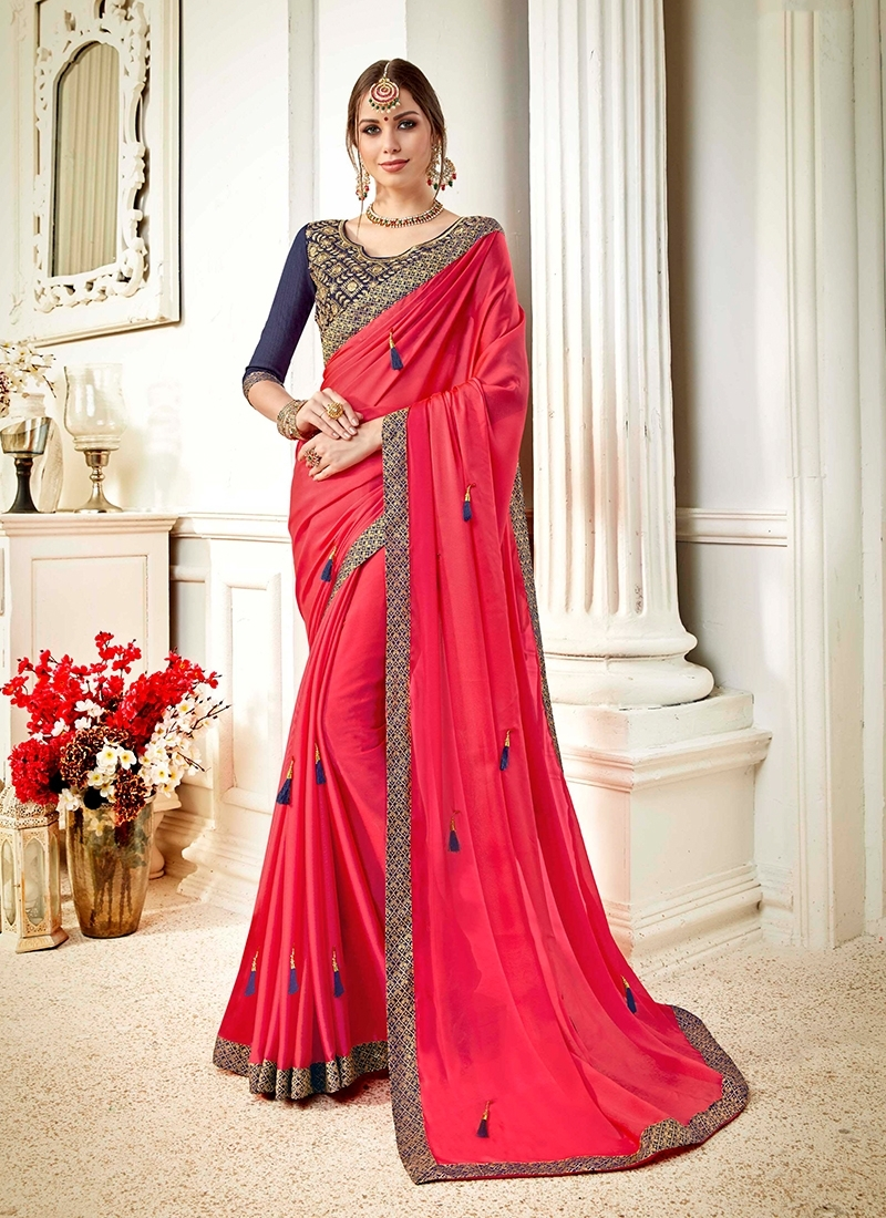 Rose Pink Embroidered Saree