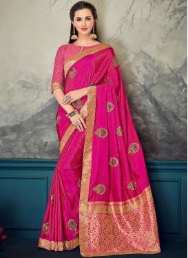 Rose Pink Poly Silk Embroidered Designer Saree