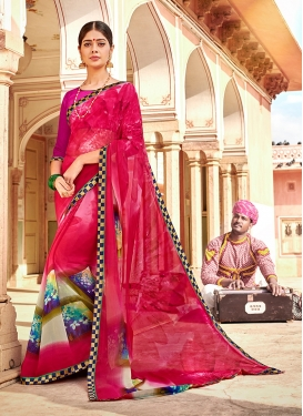 Rose Pink Printed Georgette Trendy Saree