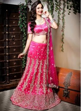 Rose Pink Resham Net Designer Lehenga Choli