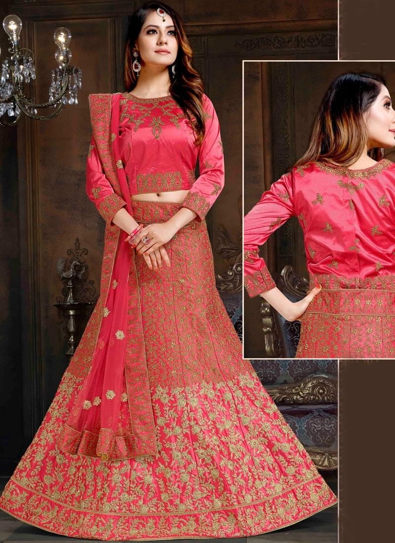 Rose Pink Satin Sangeet Lehenga Choli