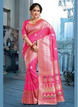 Rose Pink Weaving Festival Traditional Saree