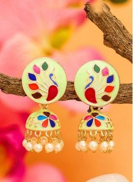 Royal Beads Work Alloy Gold Rodium Polish Earrings For Festival