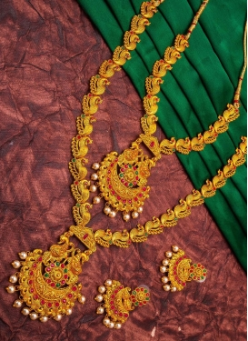 Royal Beads Work Gold and Green Necklace Set