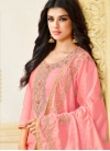 Royal Salmon Embroidered Art Silk Designer Palazzo Suit - 1