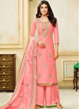 Royal Salmon Embroidered Art Silk Designer Palazzo Suit