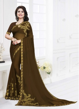 Ruritanian Embroidered Georgette Satin Olive Casual Saree