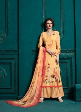 Ruritanian Faux Georgette Orange Designer Palazzo Suit