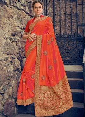 Ruritanian Poly Silk Orange Embroidered Designer Saree