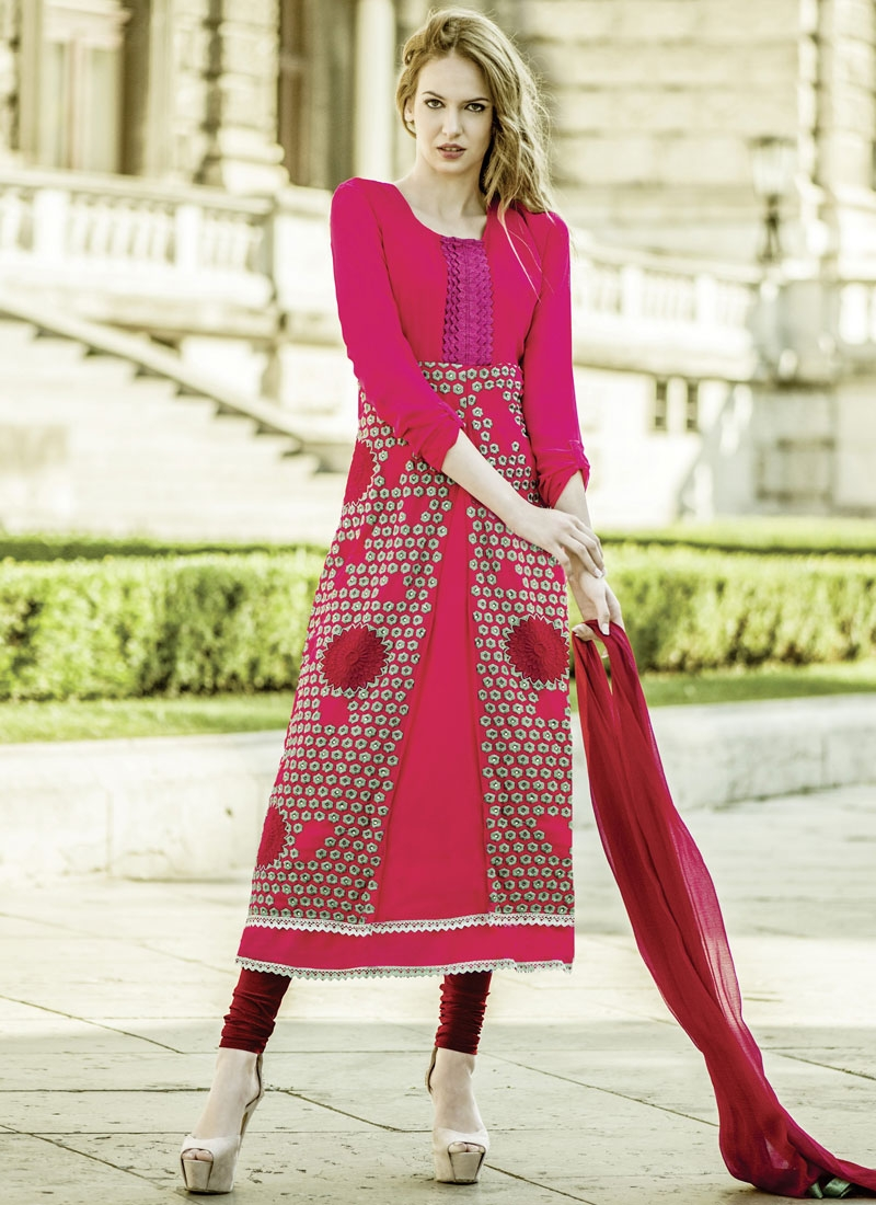 Ruritanian Rose Pink Color Resham Work Party Wear Suit