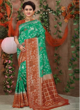 Rust and Sea Green Thread Work Contemporary Style Saree
