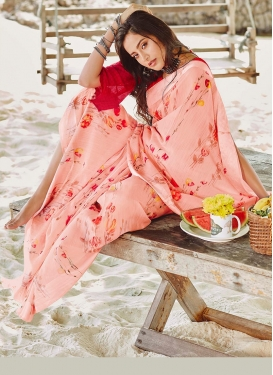 Salmon Abstract Print Linen Printed Saree