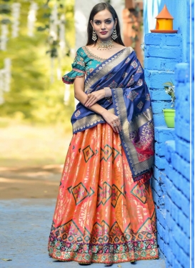 Salmon and Teal Banarasi Silk Trendy Lehenga Choli