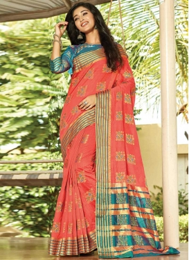Salmon and Teal Designer Traditional Saree For Ceremonial