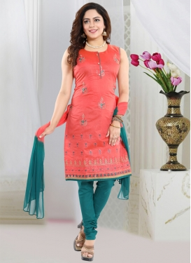 Salmon and Teal Embroidered Work Readymade Churidar Salwar Kameez