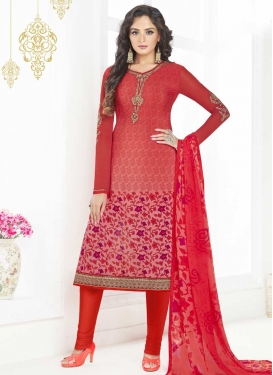 Salmon and Tomato Crepe Silk Trendy Churidar Salwar Suit