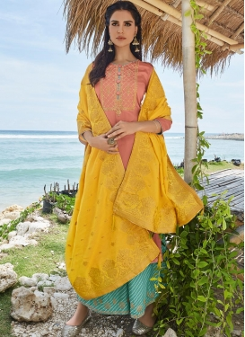 Salmon and Turquoise Embroidered Work Palazzo Style Pakistani Salwar Suit
