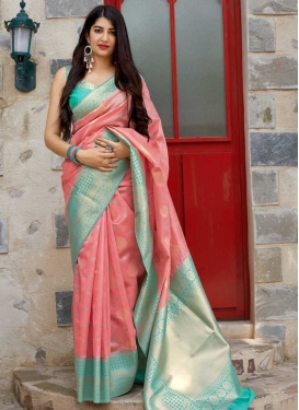 Salmon and Turquoise Thread Work Classic Saree