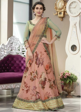 Salmon and Turquoise Trendy Lehenga Choli For Bridal