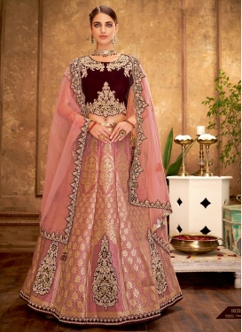 Salmon and Wine Booti Work A Line Lehenga Choli