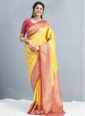 Salmon and Yellow Art Silk Traditional Designer Saree