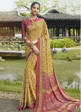Salmon and Yellow Designer Traditional Saree
