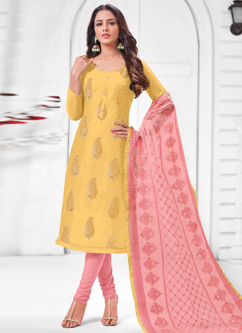 Salmon and Yellow Embroidered Work Trendy Churidar Suit