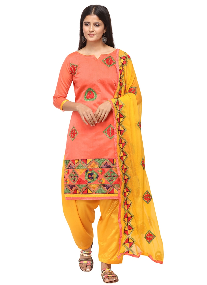 Salmon and Yellow Trendy Straight Suit