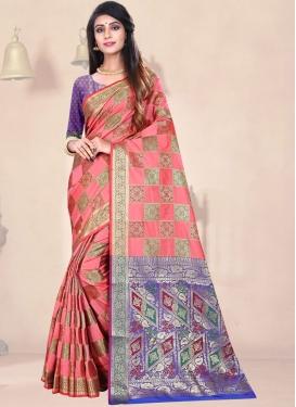 Salmon Art Silk Weaving Traditional Designer Saree
