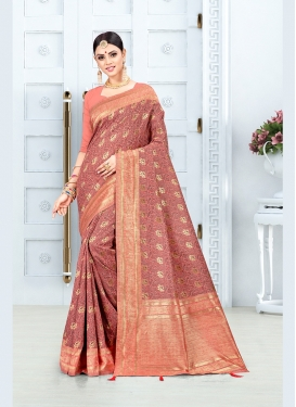Salmon Art Silk Weaving Traditional Saree