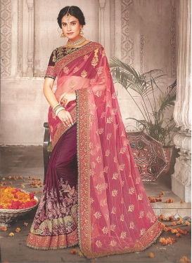 Salmon Embroidered Net Half N Half Saree