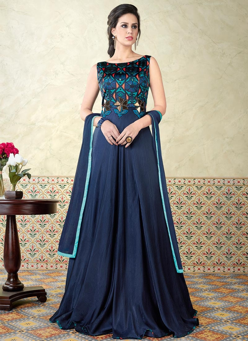 Satin Designer Floor Length Salwar Suit