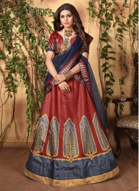 Satin Digital Print Trendy Lehenga Choli in Maroon