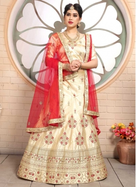 Satin Embroidered Work A - Line Lehenga