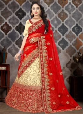 Satin Embroidered Work A Line Lehenga Choli