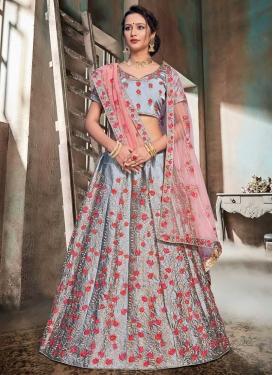 Satin Embroidered Work Trendy A Line Lehenga Choli