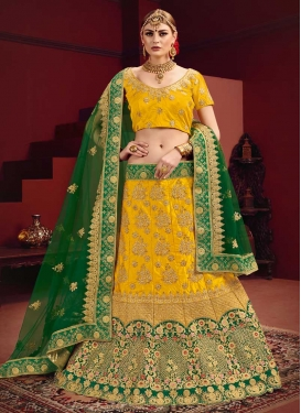 Satin Embroidered Work Trendy A Line Lehenga Choli