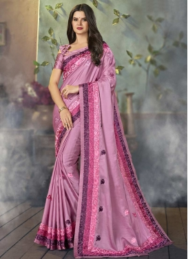 Satin Embroidered Work Trendy Saree