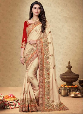 Satin Georgette Beads Work Trendy Classic Saree