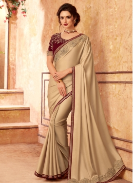 Satin Georgette Beige and Maroon Embroidered Work Trendy Classic Saree