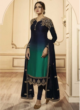 Satin Georgette Booti Work Churidar Salwar Kameez