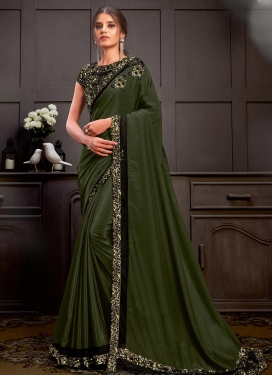 Satin Georgette Designer Contemporary Saree For Party