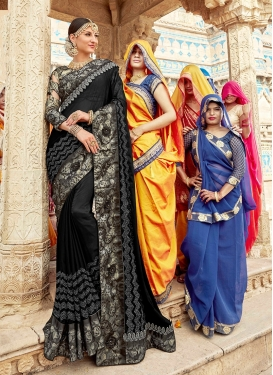 Satin Georgette Embroidered Classic Designer Saree in Black
