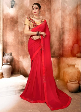 Satin Georgette Embroidered Red Classic Designer Saree