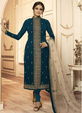 Satin Georgette Embroidered Work Churidar Salwar Suit