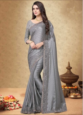 Satin Georgette Embroidered Work Contemporary Style Saree