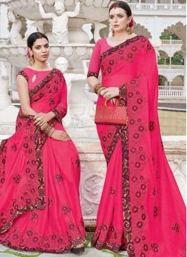 Satin Georgette Embroidered Work Designer Traditional Saree