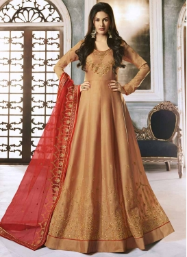 Satin Georgette Embroidered Work Floor Length Anarkali Salwar Suit