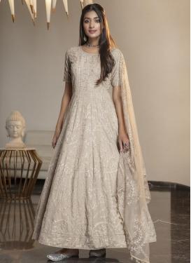 Satin Georgette Embroidered Work Long Length Anarkali Salwar Suit